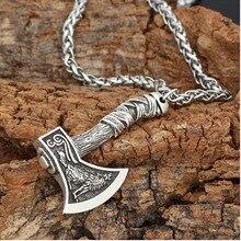 Viking Men Ax Pendant Necklace Nordic Mythology Gold Silver Color Wolf Design Rune Hatchet Bottle Opener Choker Charms Collier