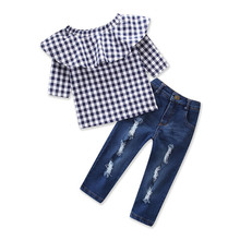 все цены на VTOM 2PCS Outfit Children Sets Fashion Toddler Kids Clothing Suits Baby Girls Plaid Half Tops + Jean Denim Pants Kids Clothes онлайн