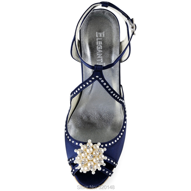 Summer Women High Heel Sandals Navy Blue Size 9 pearl Ankle Strap Satin  Bridesmaid Ladies Bridal Wedding Shoes EP11058 a172bbf959e4