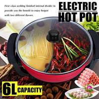Smokeless 1800W 220V 6L Non Stick Home Electric Shabu Hot Pot Table Top Kitchen Aluminum 30cm AU Plug 5 Temperature Settings