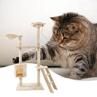 60 inch Cat Climb Tree Toy Solid Cute Sisal Rope Plush Cat Climbing Tree Cat Tower Cats Furniture Beige