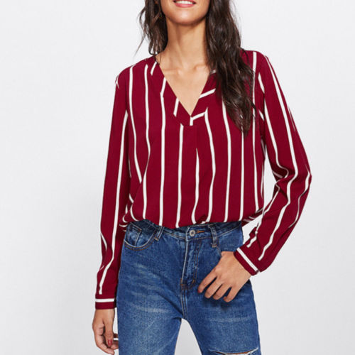 2019 New Long Sleeve Chiffon Loose Shirts Women Deep V Neck Work Ladies Baggy Striped Blouse