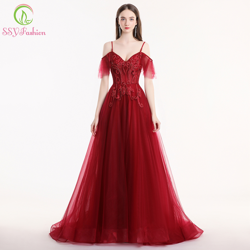 SSYFashion New Luxury Evening Dress Robe De Soiree Banquet Sweetheart Burgundy Lace Beading Sweep Train Long