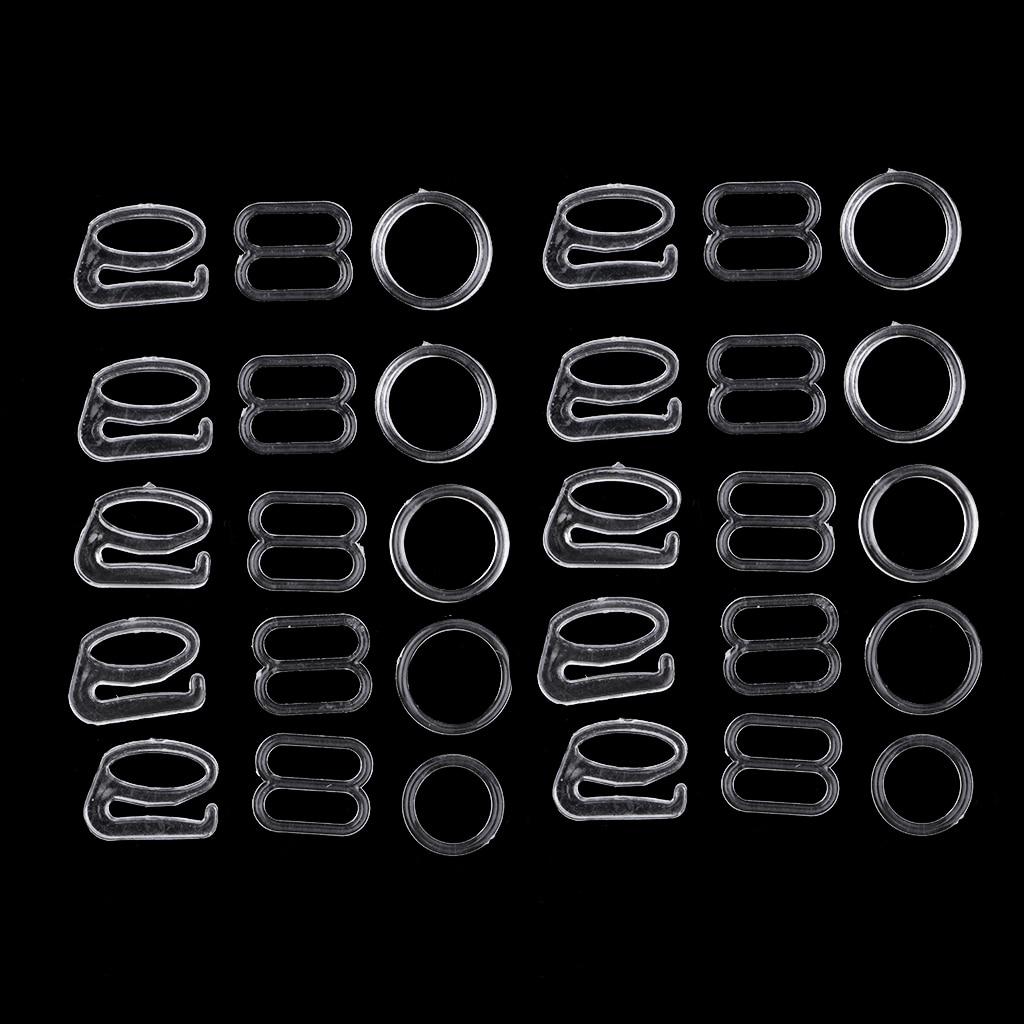 10 Sets Nylon Bra Strap Adjuster Slider/Hooks/O Ring Lingerie DIY Sewing Crafts