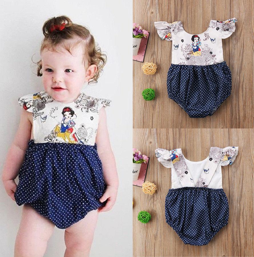 Pudcoco Girl Jumpsuits 0-24M Newborn Baby Girls Cartoon Dot Romper Jumpsuit Outfits Clothes Sunsuit