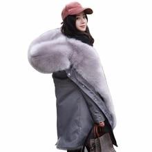 Women Fox Fur Coat 2018 Winter New Warm Pink Lining Suede Fur Camo Thick Jacket Hooded Collar Parka Plus Size Outerwear PJ313 стоимость