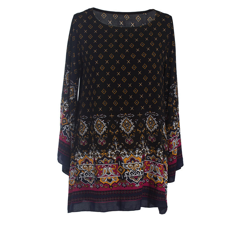 Women's Plus Size Round Neck Retro Ethnic Style Printed Loose Dress Nice Wear