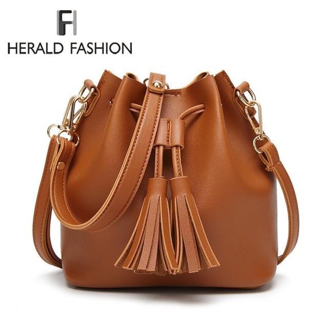 Herald Fashion Women Bags Tassel Drawstring Bucket Bags Small Quality  Leather Female Shoulder Bag Trend Brief f7e1eab18cf9c