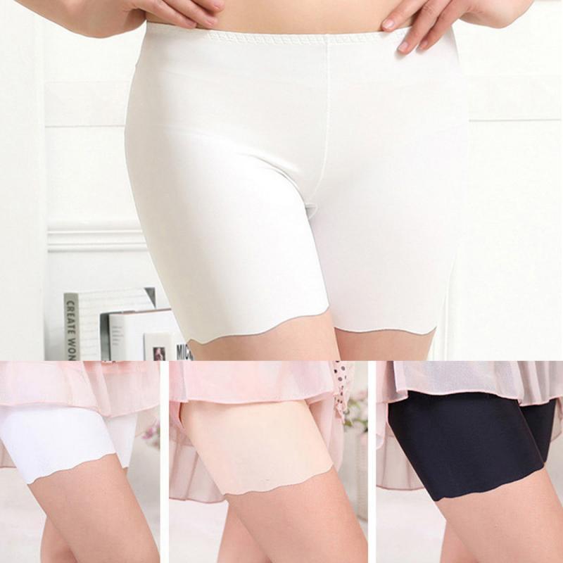 2019 Hot Selling Female Sexy Women High Waist Ice Silk Briefs Seamless Elastic Pants Short Leggings White/ Black/ Skin #0601