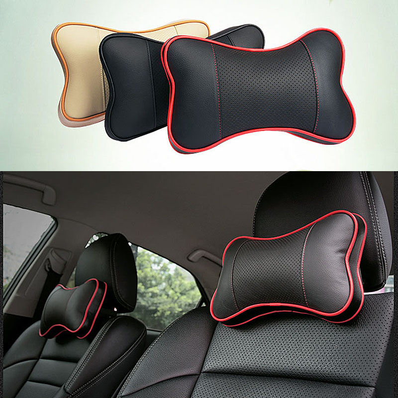 2x Black Carbon Fiber Neck Cushion Seat Neck Pillow Headrests For Cadillac
