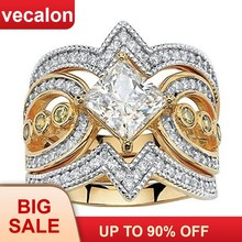 Vecalon 3-em-1 Do Vintage 925 anel de Prata Esterlina define Princesa 5A Zircon Cz anéis de Noivado wedding Band para as mulheres Do Partido Jóias(China)