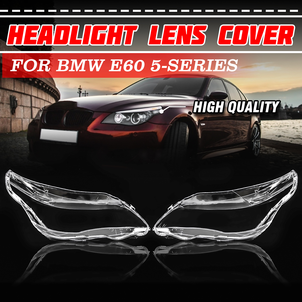 1 Pair Transparent Housing Front Left+Right Side Headlights Lenses Lamps Covers Plastic Shell For BMW E60 2003 2010 5 Series