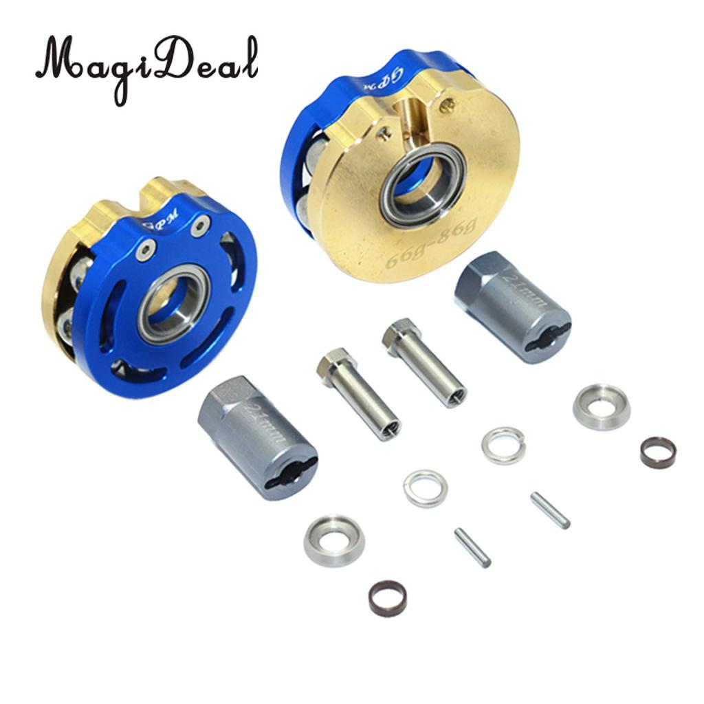 Axial SCX10 & SCX10 II Rolling Beads Pendulum Wheel Knuckle Axle Weight + 21mm Hex Adapter Blue