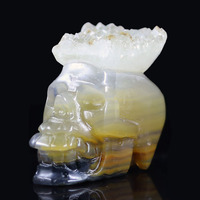 2.19 CRYSTAL AGATE DRUSE Handmade Carved Crystal Skull Crystal Realistic Crystal Healing Furnishing Articles Figurine S20