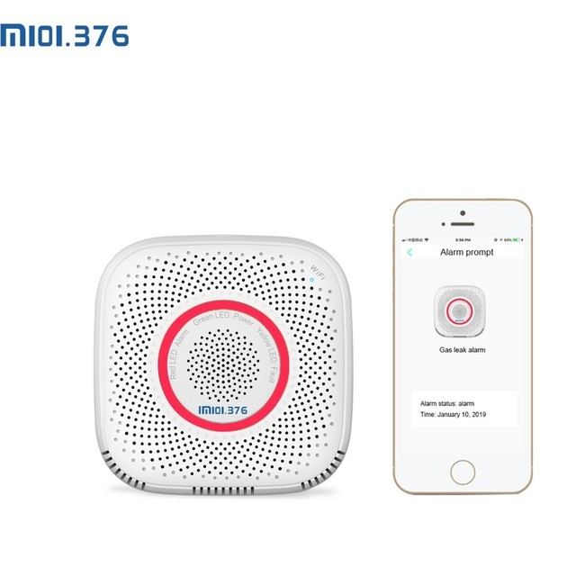 LM101.376 WiFi gaz lpg sızıntı alarmı ev güvenlik yüksek hassas dedektörü yangın sensörü cep telefon uzaktan kumandası