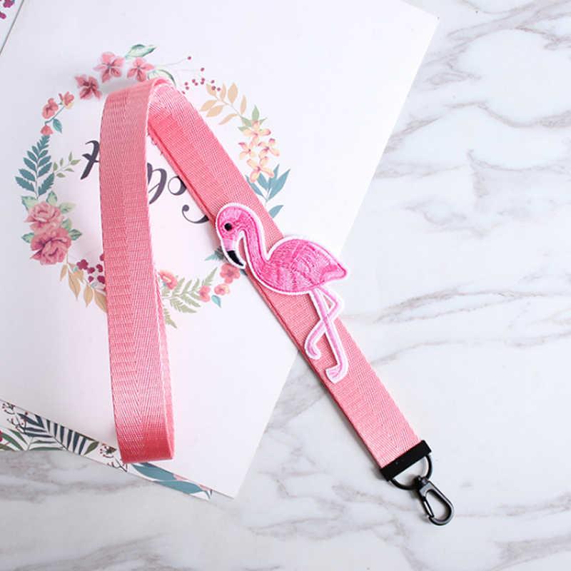 بيع اليدوية التطريز الوردي الشريط فلامنغو سلسلة مفاتيح قصيرة الحيوان DIY بها بنفسك مفتاح سلسلة لحقيبة محفظة جراب هاتف