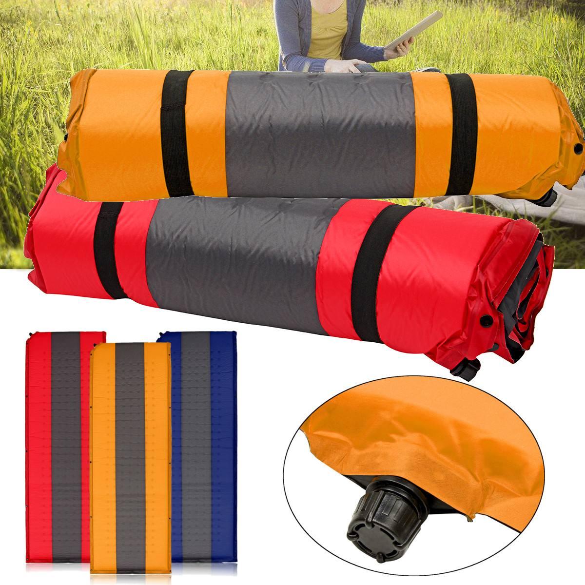 Grand pliable auto gonflant en plein air Camping tapis pique-nique Pad gonflable matelas de couchage sac à dos voyage 3 couleurs 190x66x5 cm
