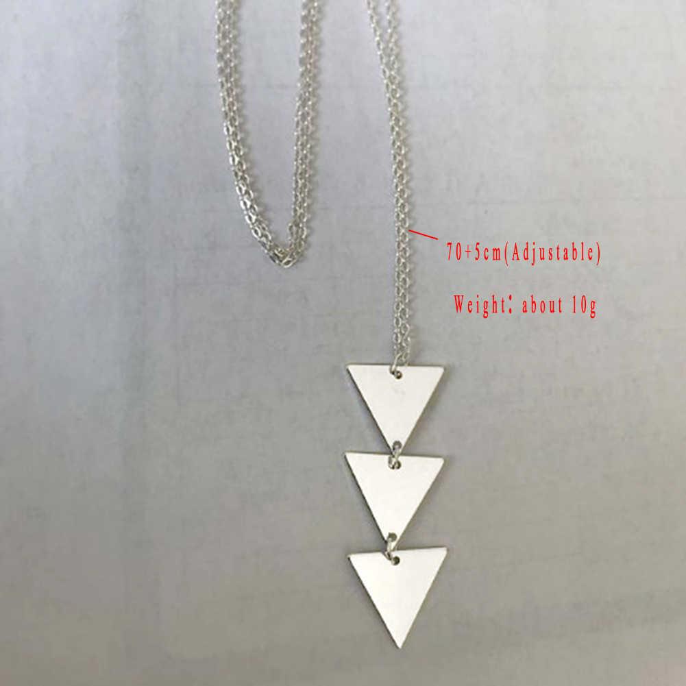 2019 новое ожерелье с длинным замком Accs, серебряное золото, треугольный замок, шикарная модная женская цепочка, колье, треугольное длинное ожерелье, ювелирные изделия