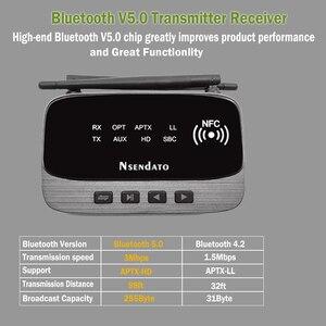 Image 4 - 262ft/80 متر NFC طويلة المدى بلوتوث 5.0 ستيريو الصوت الموسيقى جهاز ريسيفر استقبال وإرسال 3 في 1 محول الصوت اللاسلكي الكمون المنخفض aptX HD