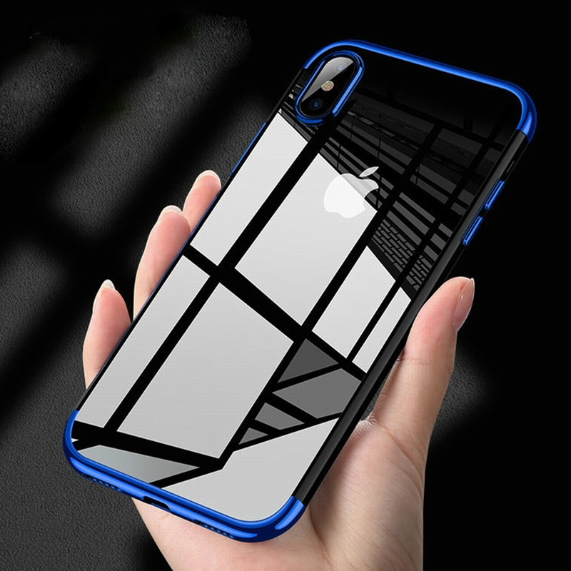 Plating Clear Silicone Case for iPhone XS Max XR X case Transparent Soft TPU cover for iPhone X 6S 7 8 Plus XS Mobile Phone Bag (China)