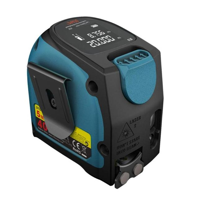 DT10 2-in-1 LCD Display Measuring Tape Digital Laser Measure Laser Rangefinder Measuring Tool 40m Laser Distance 5m Tape Measure