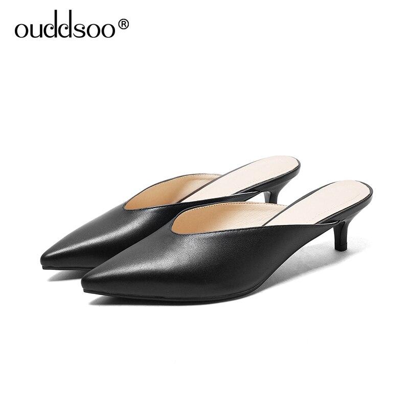 apricot Genuino Delgada Ods Mulas 2019 Hebilla Zapatos Negro Calzado Moda Altos Los Verano Zapatillas black 9 Punta Tacones Las Beige 43 Mujeres De Cuero 5wwgWrAdn