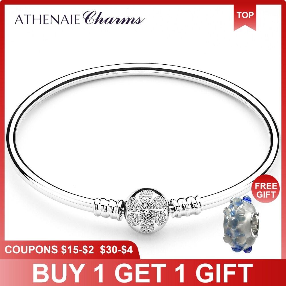 ATHENAIE 925 безукоризненные Серебрянные серьги Ясно CZ ромашки цветок любовь застежка основные талисманы браслеты для женщин