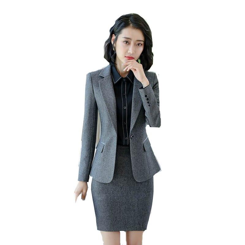 Fashion Office Lady Work Suit Elegant Skirt Suit Blazer+Skirt 2 Pieces Suits Female Business Set