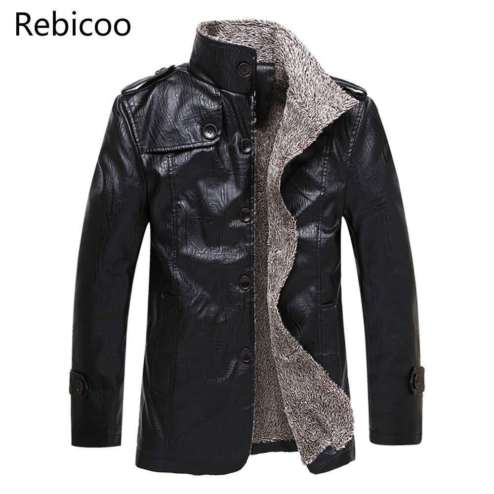 New Winter Men's Leather Jackets Stand Collar Long Coats Men Windbreaker Fleece PU Leather Male Jacket Outwear