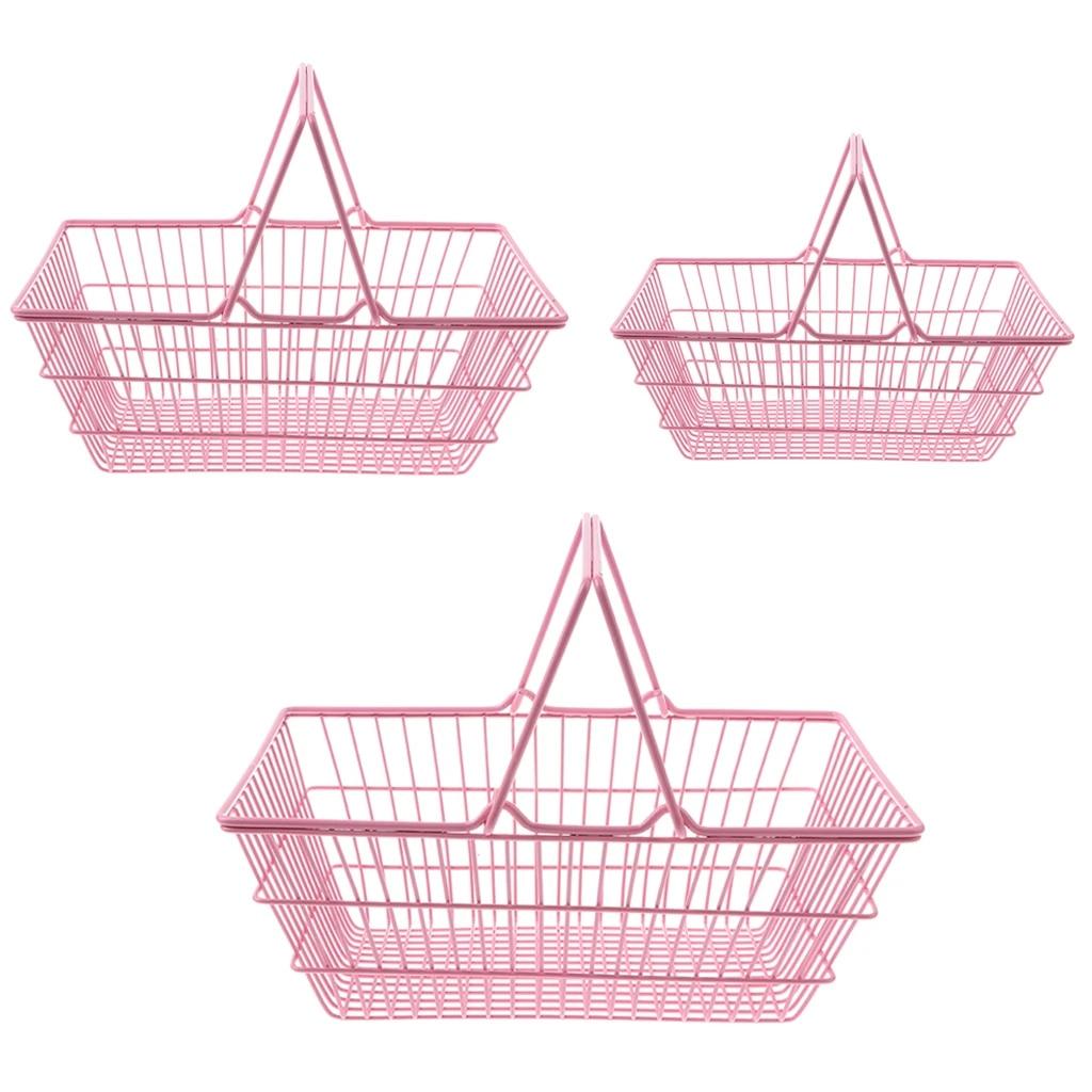 Supermarket Shopping Basket for Storage Food Fruit Pretend Play Kitchen Toy Gift