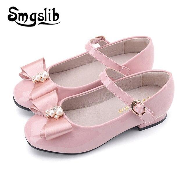 Girls Shoes Princess Bowknot Leather Sneaker Kids Dance Party Shoes 2019  Spring Autumn Little Girls Flats Wedding Children Shoe