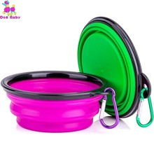 Pet Cat Dog Bowl Folding Collapsible Silicone Puppy Doggy Feeder Water Food Container Foldable Style Free Shipping