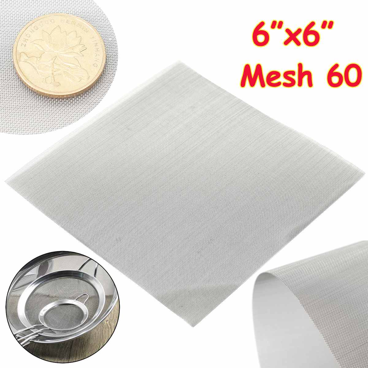 1pc 15x15cm 60 Mesh 304 Stainless Steel Woven Wire High Quality <font><b>Screening</b></font> Filter Sheet image