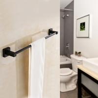 61cm Black Square Bathroom Towel Rack Rail Matte Wall Mounted Towel Holder Single Tissue Roll Toilet Brush Holder Robe Hook