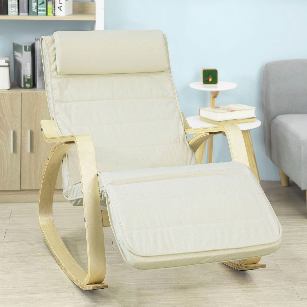 SoBuy FST16-W, Relax Rocking Chair Lounge Chair With Cream Cushion And Adjustable Footrest