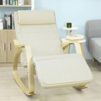 SoBuy FST16 W, Relax Rocking Chair Lounge Chair with Cream Cushion and Adjustable Footrest