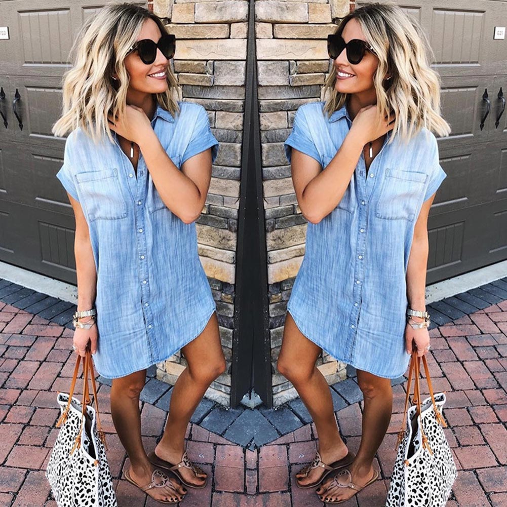 Women's Casual Tassel Denim   Blouse     Shirts   2019 Summer Ladies Fashion Short Sleeve Tops   Blouses   Female Solid Button Long Clothes
