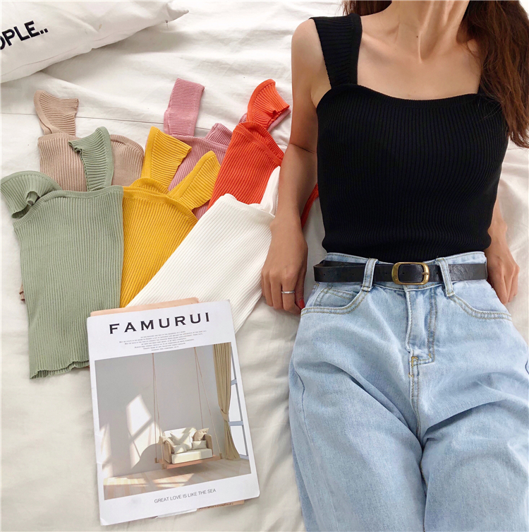 Solid Knit Cropped Camisole   Top   Girls Summer Slim Stretchy Knitted   Tanks   Crop   Tops   Female FL1302