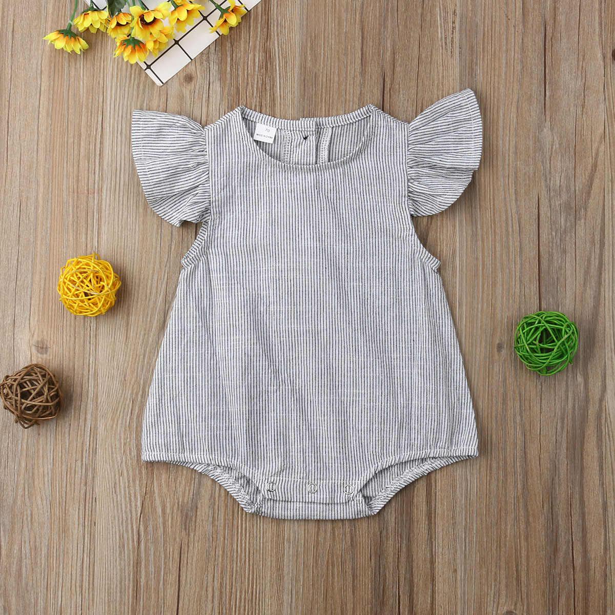 2019 Marka Yeni Yenidoğan Bebek Çocuk Bebek Kız Erkek Romper Petal Kolsuz Çizgili pamuk tulum Tulum yaz giysileri 0-18 M