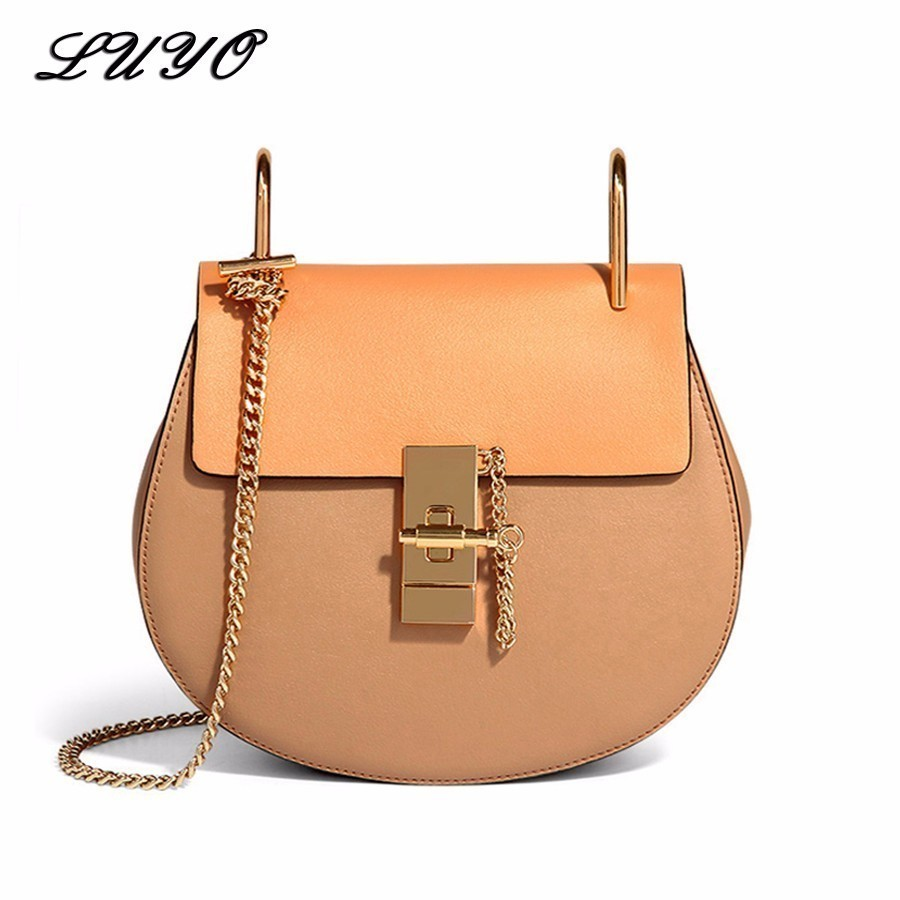 LUYO Saddle Famous Brand Luxury Handbags Women Bags Designer Genuine Leather Bag High Quality Shoulder Bag Small Chain Bag Sac best quality 2018 new gate shoulder bag women saddle bag genuine leather bags for women free shipping dhl