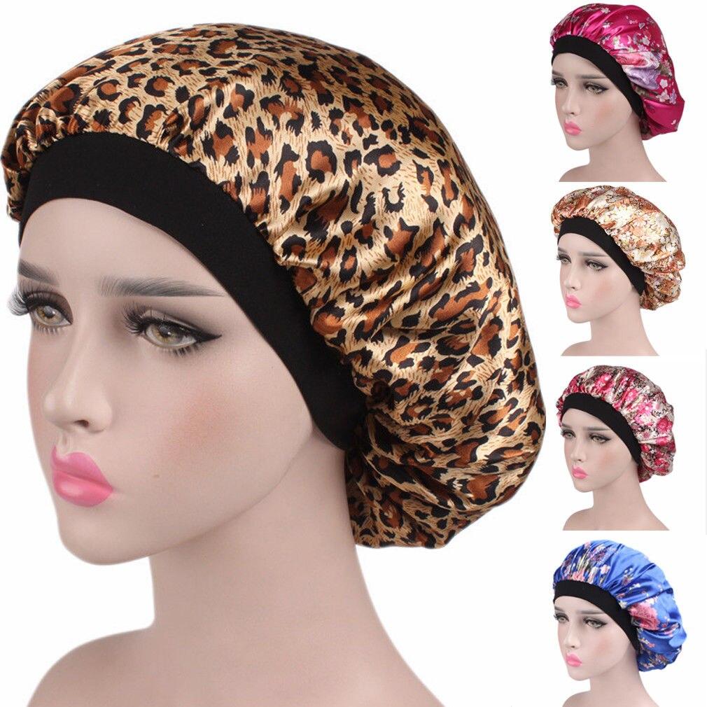 Nouveau mode femmes Satin nuit sommeil casquette cheveux Bonnet chapeau soie tête couverture large bande élastique