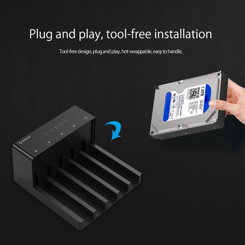 Orico 6558Us3-C 5 baie Super vitesse Usb 3.0 HDD Station d'accueil sans outil USB 3.0 vers SATA boîtier de boîtier de disque dur adaptateur - 5