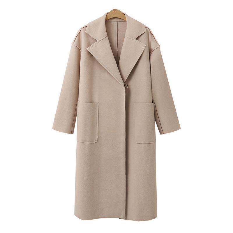 Casual Fashion Coat Women's Large Size Solid Color Simple Elegant Temperament Long Coat Long Windbreaker With Belt S-XL