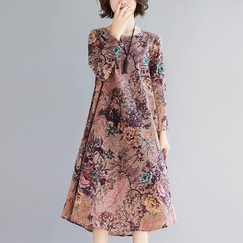 Vintage Cotton Linen Women Dress 2018 Spring New Long Sleeve O Neck Loose Floral Print Party Dresses Vestidos in Dresses from Women 39 s Clothing