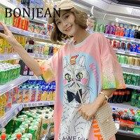 BONJEAN Cat Print Dress for Women 2019 Robe Femme Short Sleeve Mini Dress with Sequin Cartoon Pattern Summer Pink Dress BJ1134