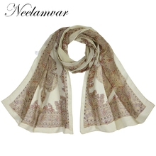 Neelamvar Fashion  new arrival 2019 spring and autumn chiffon women scarf polyester long soft silk shawl from India