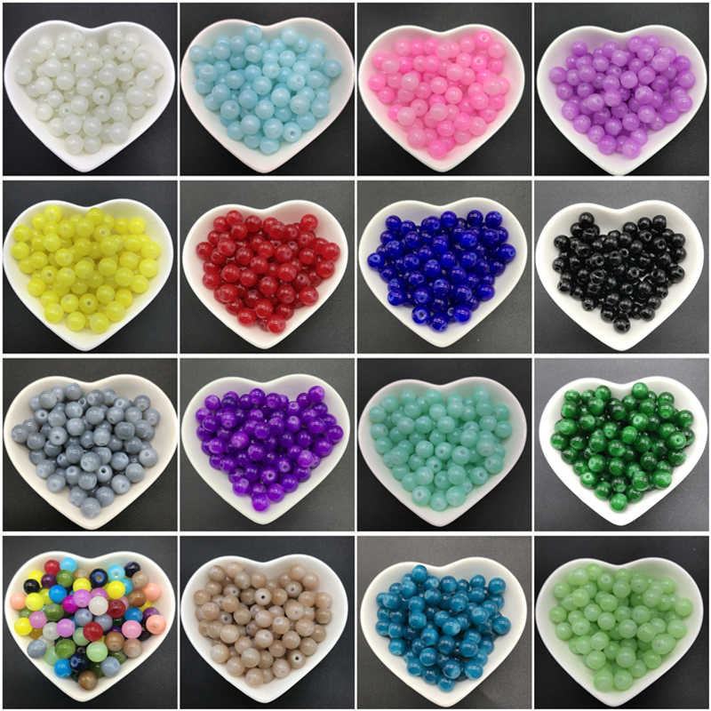 4/6/8/10mm Round Loose Glass Beads For Jewelry Making Necklace DIY Bracelet