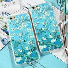 CASEIER Almond Blossom Patterned Cases For iPhone 7 8 Relief Soft Covers Plus Painting Vintage Couque Shell