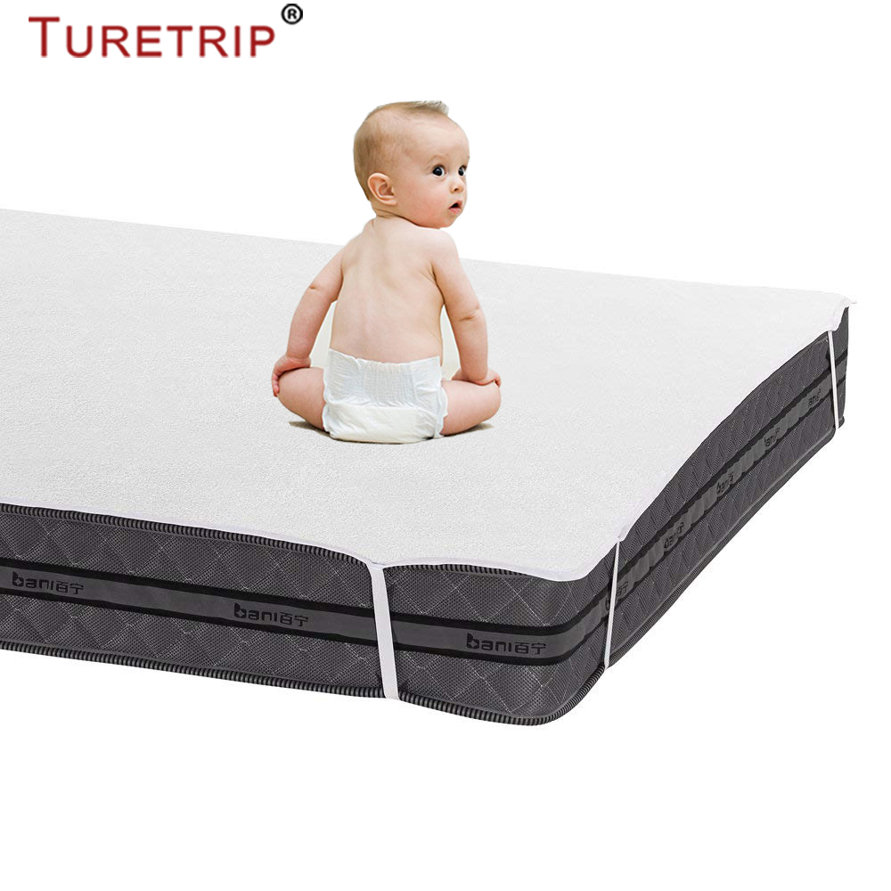 Turetrip Baby Cot Size 70X140CM Terry Waterproof Bed Sheet With Band Anti Slip Waterproof Mattress Pad Cover Bed For Mattress