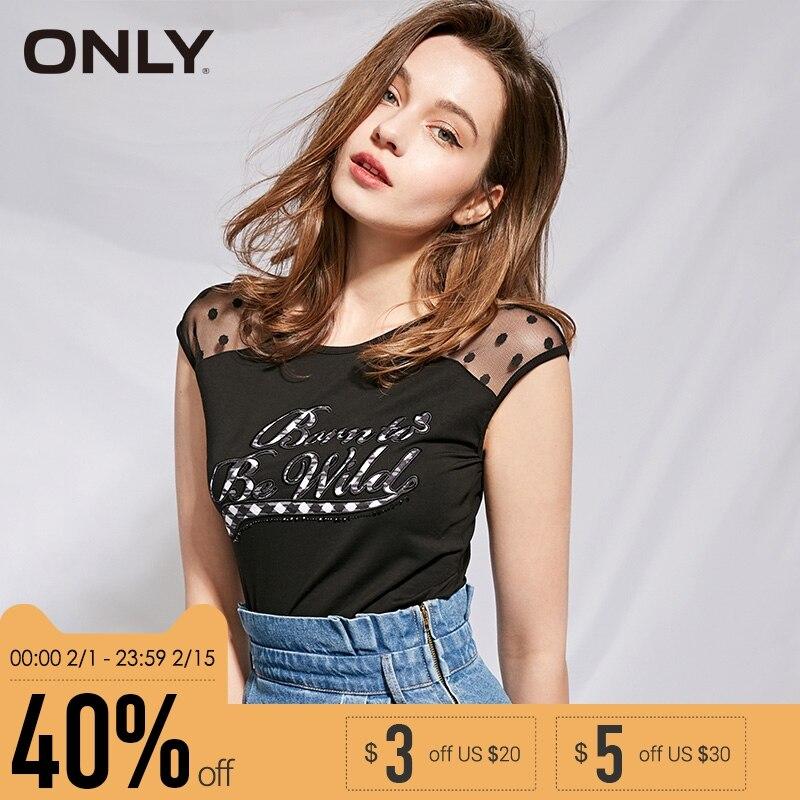 Sólo marca nuevo caliente de moda de las mujeres de algodón Carta forma diamantes negro sexy slim camisetas tops Mujer | 115301024 |